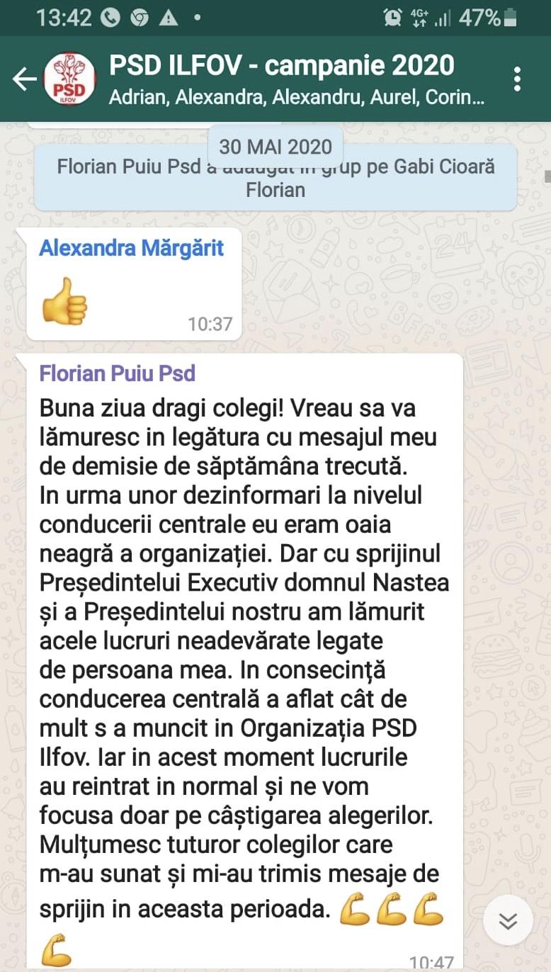 Florian Puiu și-a anunțat demisia pe grupul de whatsapp al Organizației PSD Ilfov