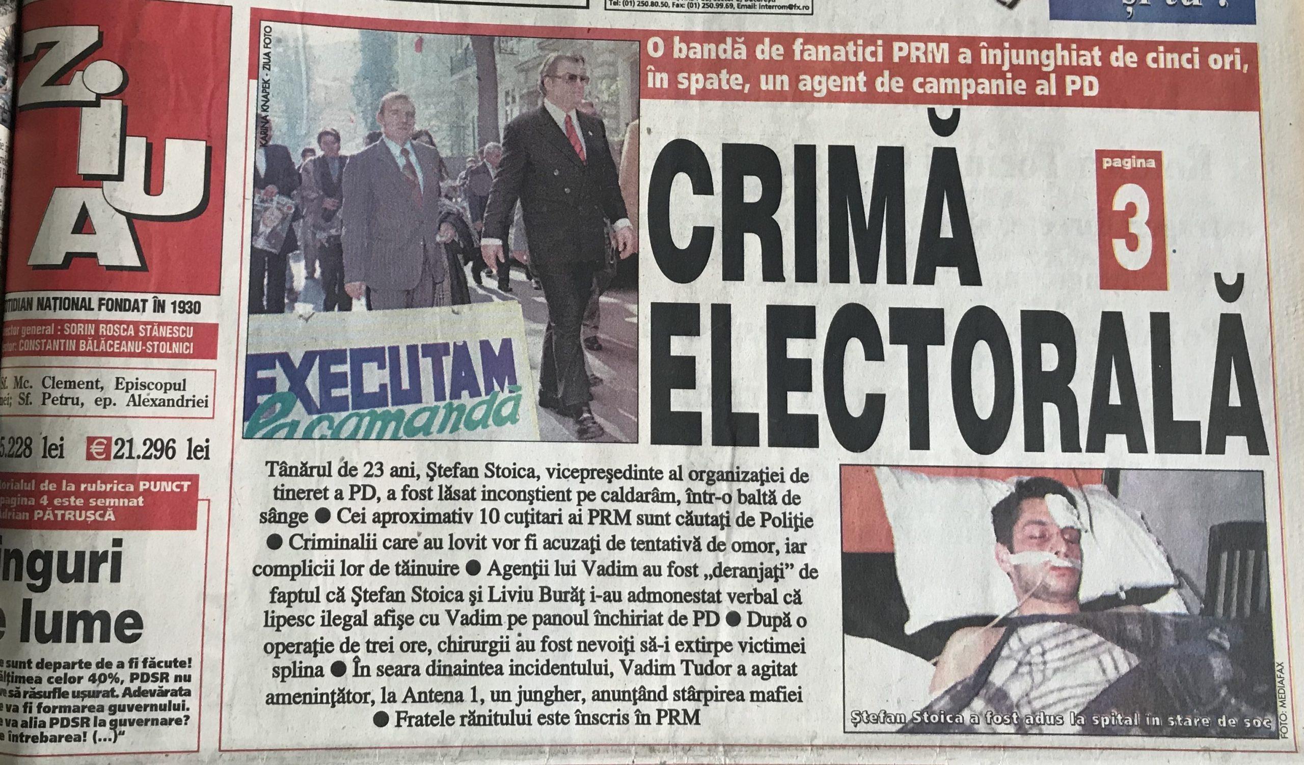 """O Ziarul """"Ziua"""", 24 noiembrie 2000"""